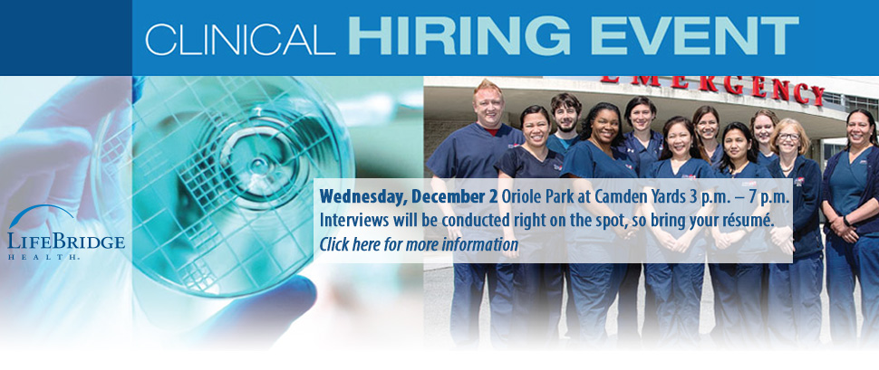 WClinical Hiring Event - Click here for more information.