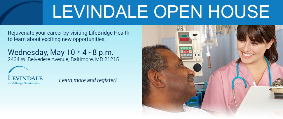 Levindale Open House on Wednesday, May 10 from 4-8 p.m. Learn more and register!