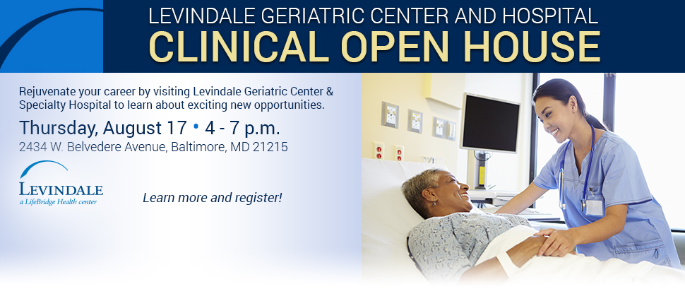 Levindale Clinical Open House - Thursday, August 17 from 4-7 p.m. Learn more and register here!